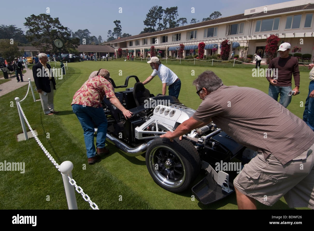 ICONIC Roadster on to the Practice Green in front of the Lodge at Pebble Beach during the 2009 Pebble Beach Concours - Stock Image