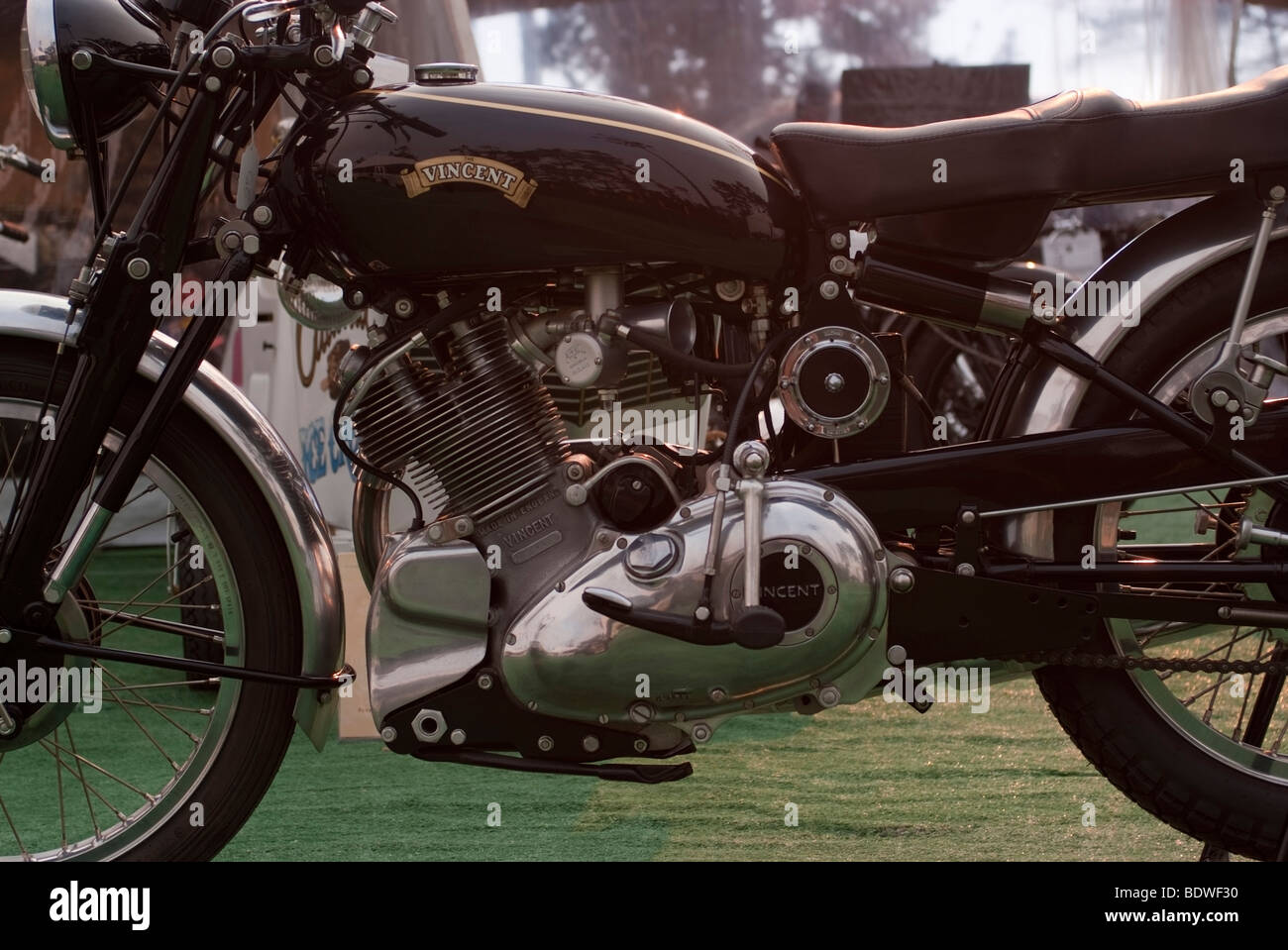 1950 Vincent Comet Series C Motorcycle on display at the 2009 Pebble Beach Concours d'Elegance - Stock Image