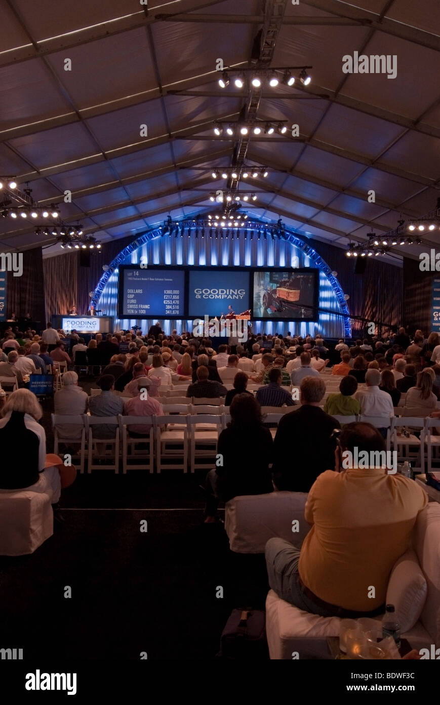 Stage during the two-day auction by Gooding & Company at the Pebble Beach Concours d'Elegance - Stock Image