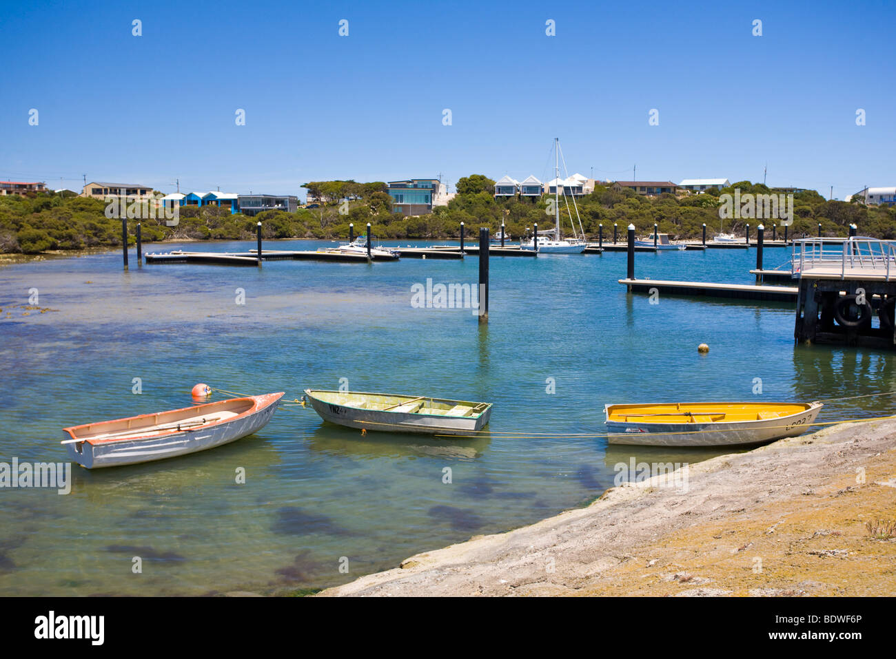 Boats in Robe Harbor, South Australia - Stock Image