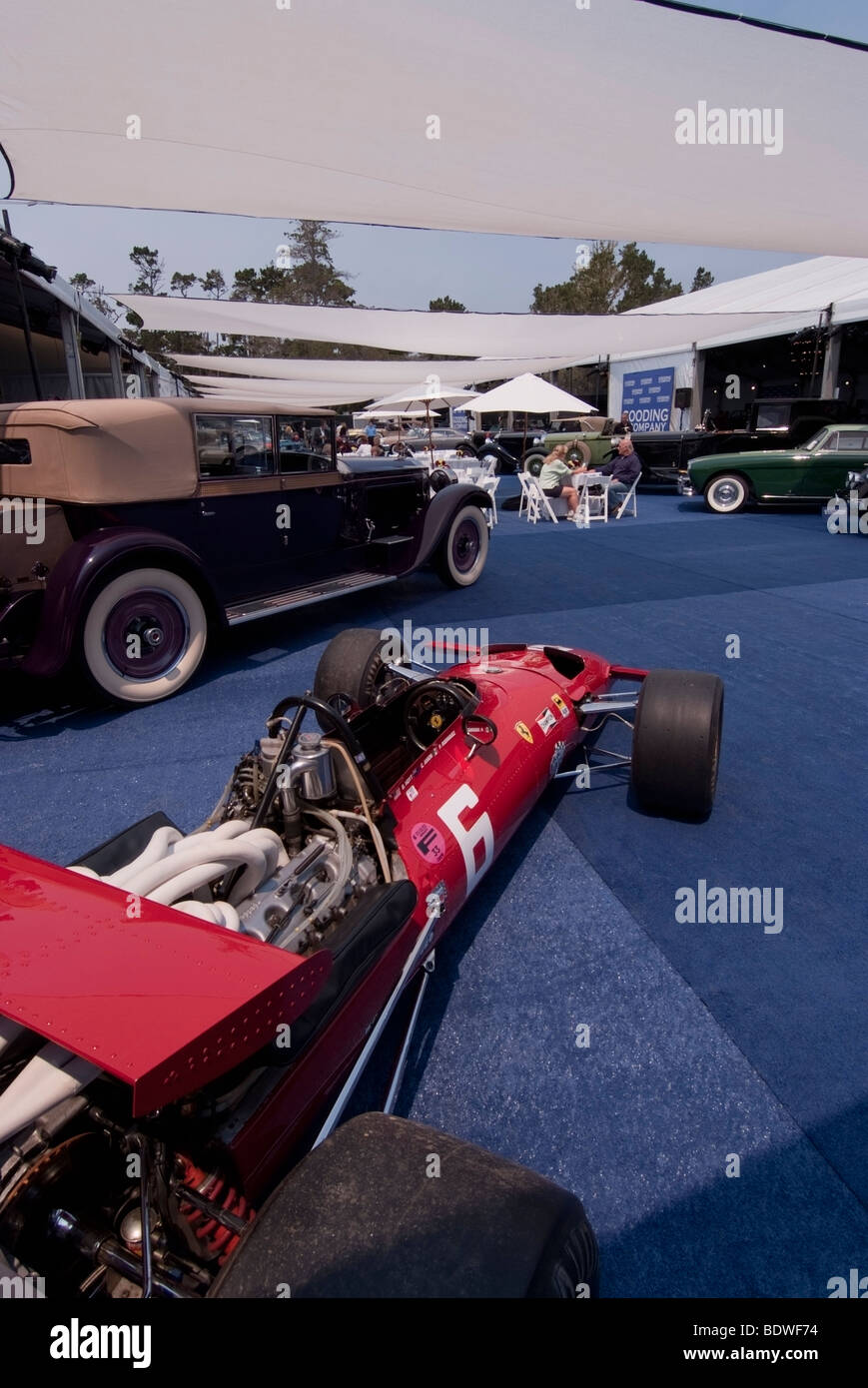 1969 Ferrari 312 Formula One race car outside of the Gooding & Company tent at the 2009 Pebble Beach Concours - Stock Image