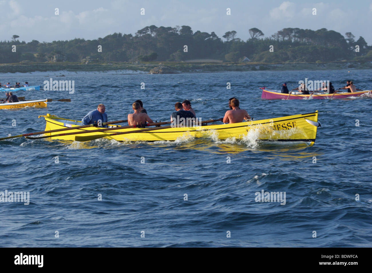 gig boat racing on the isles of scilly - Stock Image