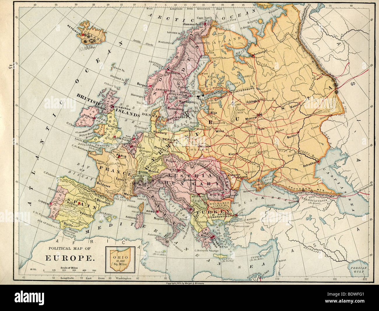 map of europe 1875 Original old map of Europe from 1875 geography textbook Stock