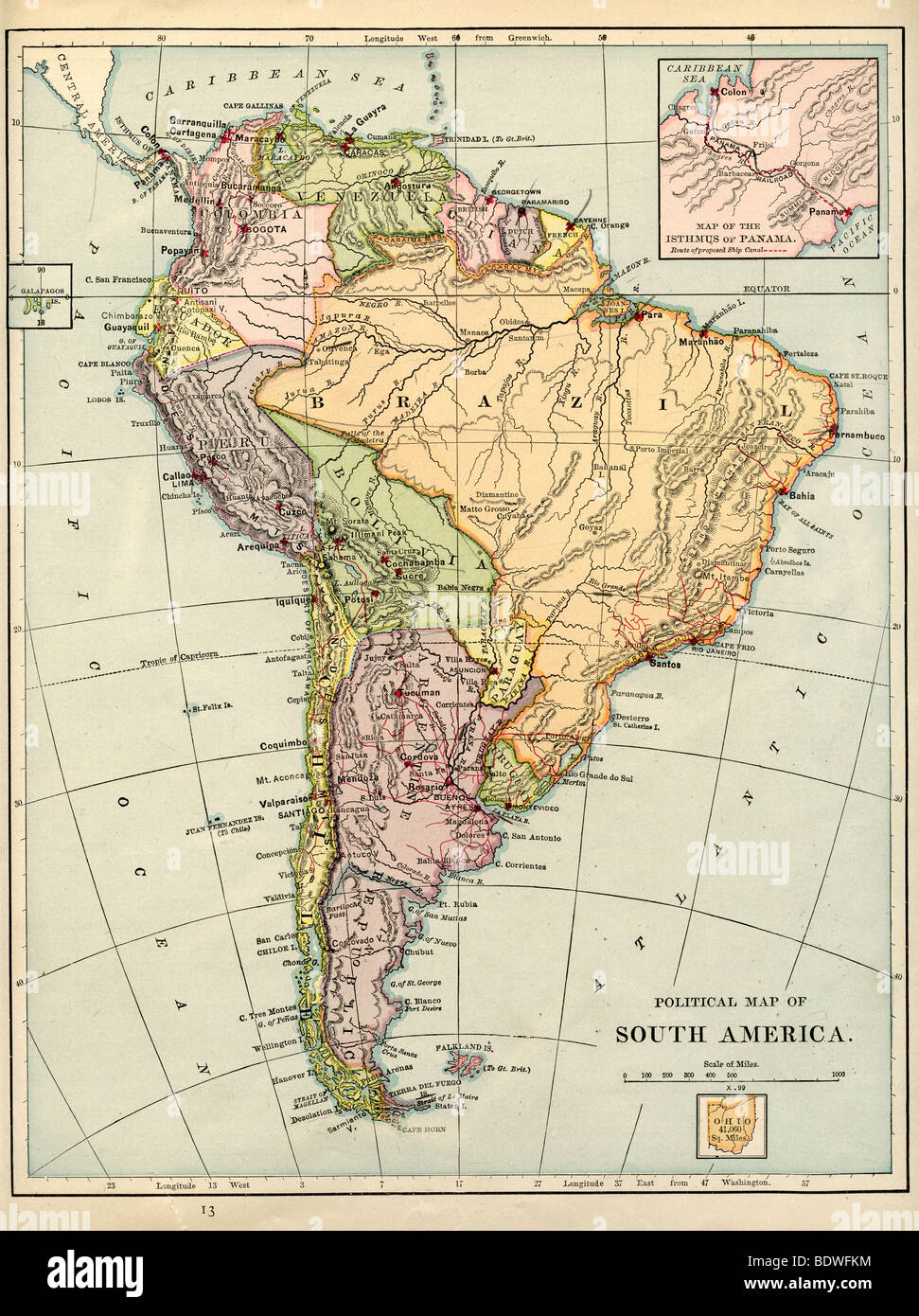 Original old map of South America from 1875 geography textbook Stock ...