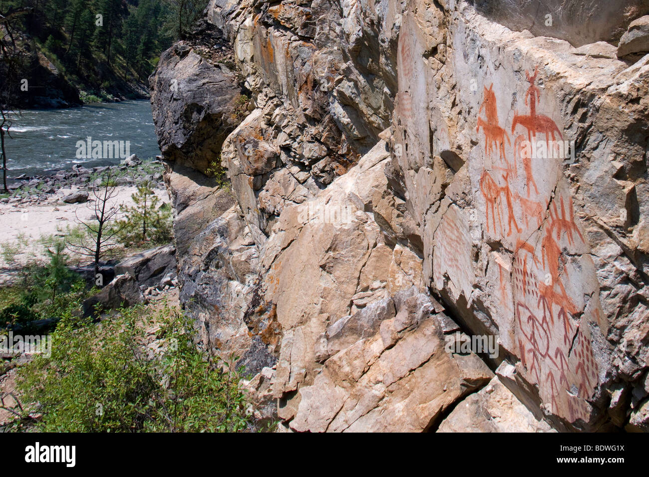 Pictographs at Legend Creek camp along the Salmon River, bring evidence of an ancient past. - Stock Image