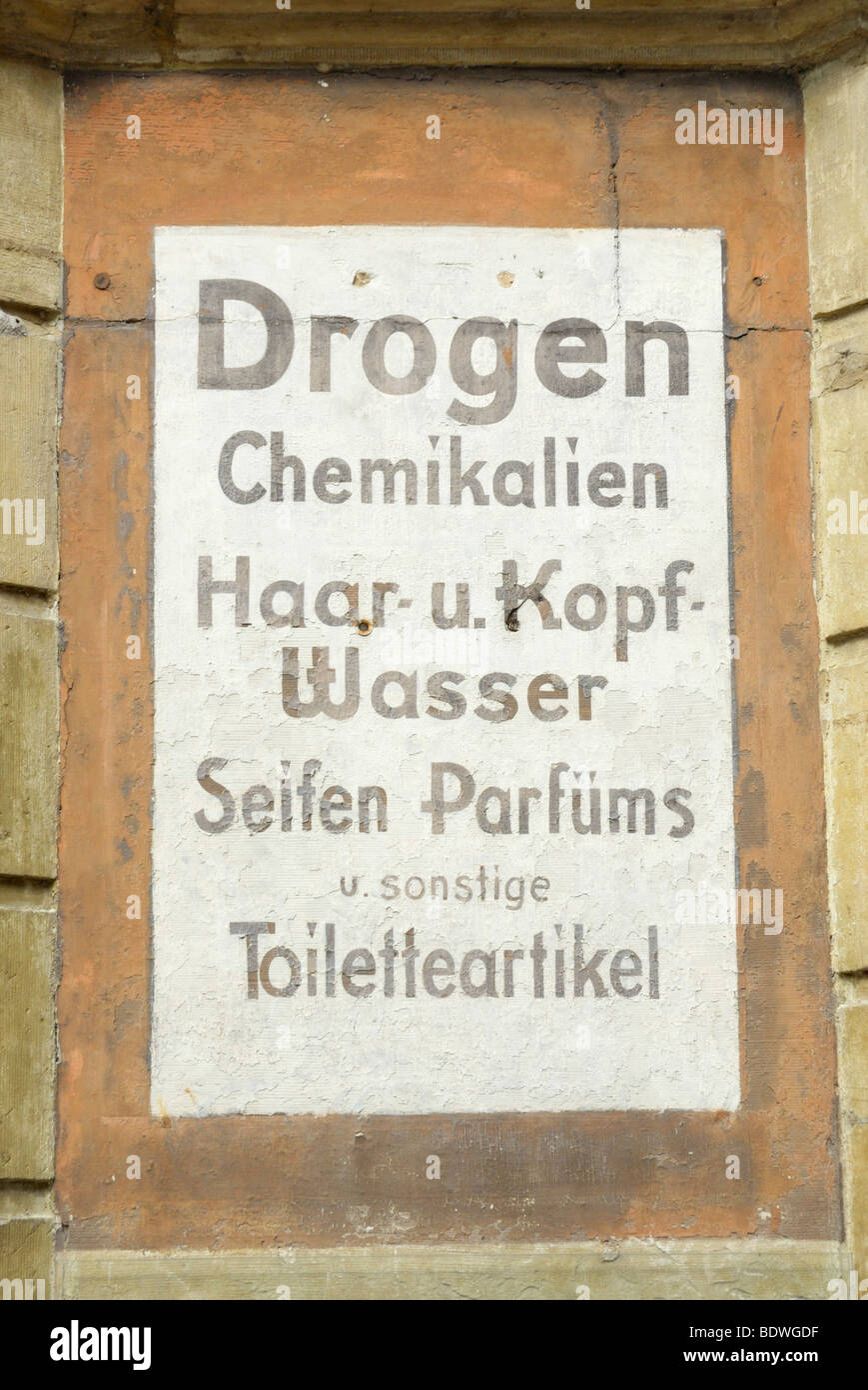 Old sign of a pharmacy for toiletries, chemicals and drugs, Besigheim, Baden-Wuerttemberg, Germany, Europe - Stock Image