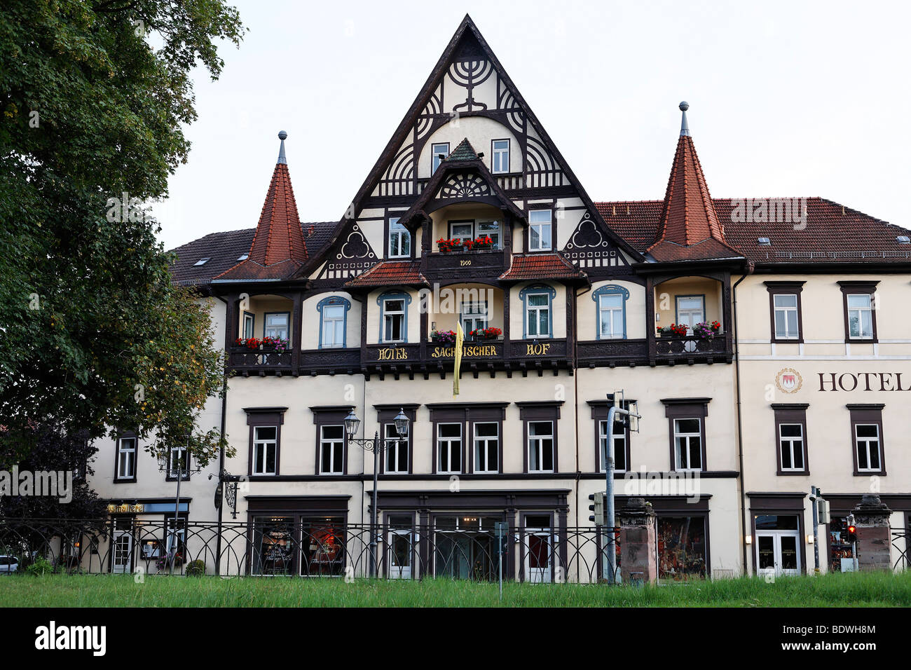 Saechsischer Hof, historic hotel, half-timbered house, Meiningen, Rhoen, Thuringia, Germany, Europe - Stock Image