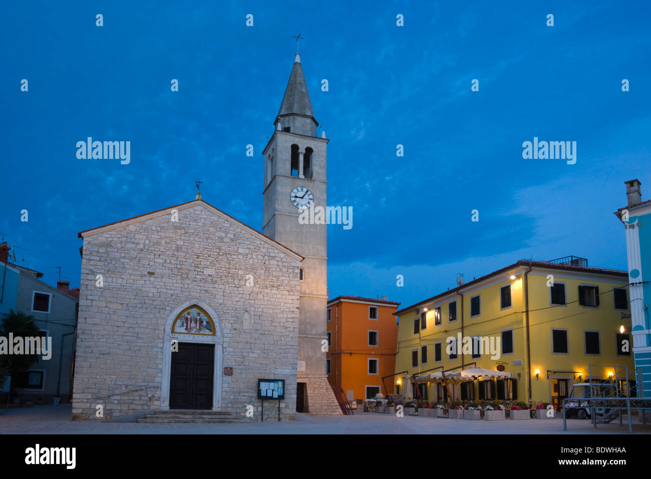 Church of SS. Cosmas and Damian, Crkva Sv Kuzme i Damjana, Titova Riva, Twilight, Fazana, Istria, Croatia, Europe - Stock Image