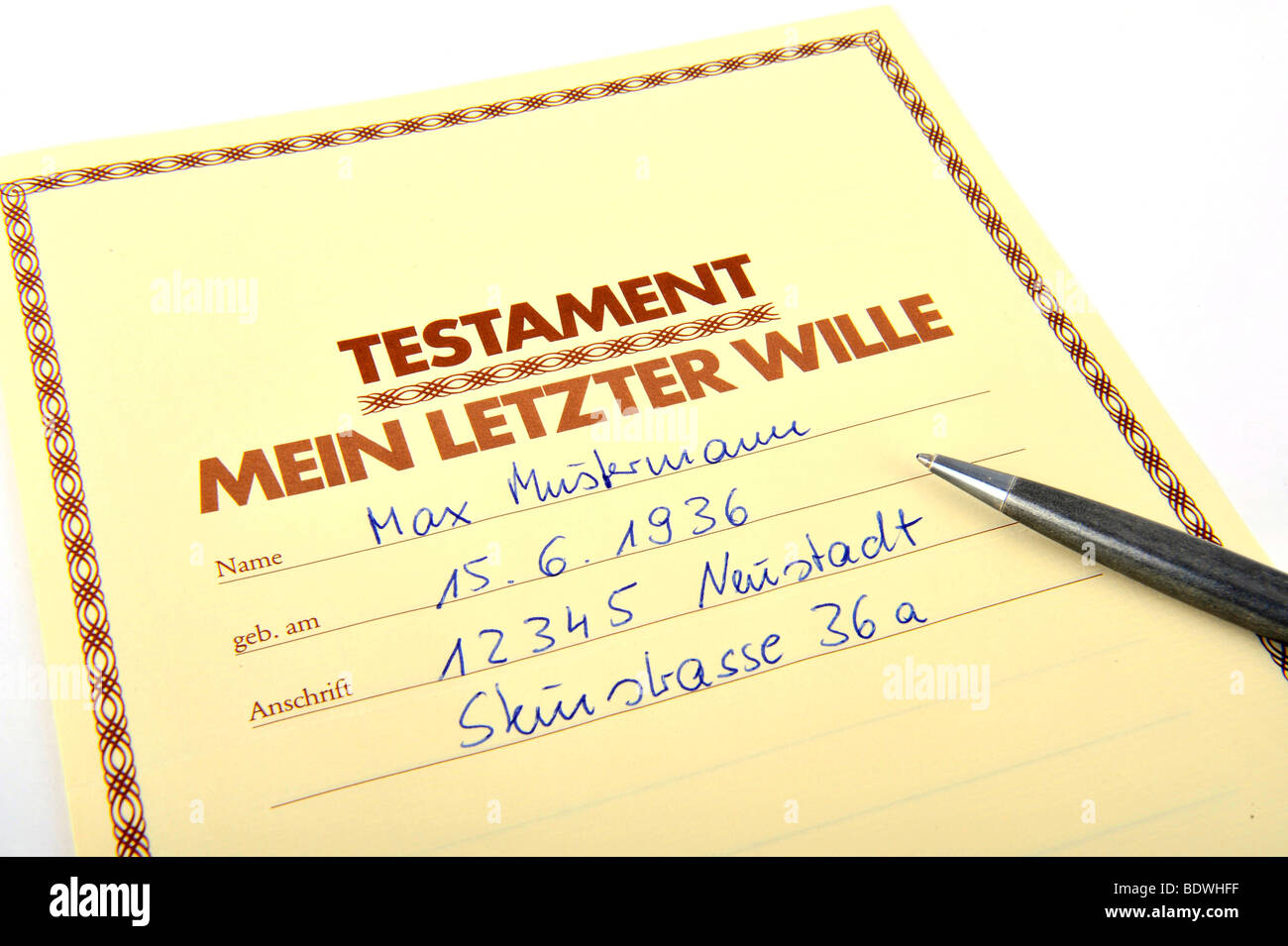 Last will and testament - Stock Image