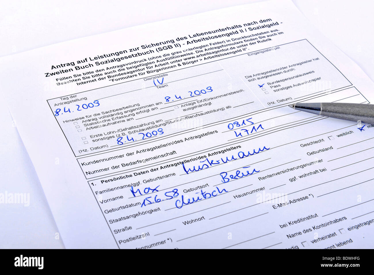 Application for unemployment benefits II, Hartz IV - Stock Image