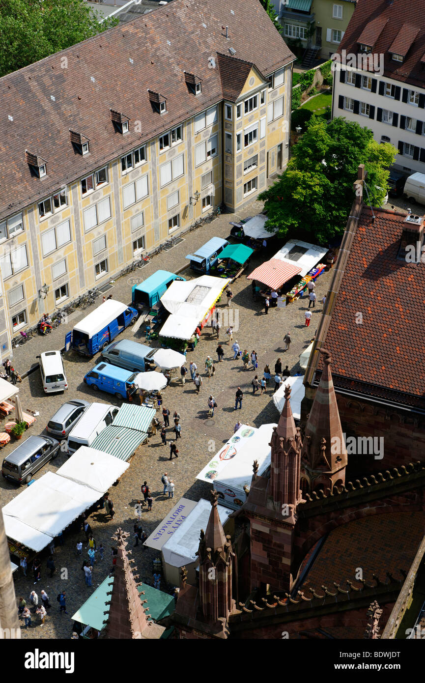 View from the Freiburg Minster onto the city and the market, Freiburg im Breisgau, Black forest, Baden-Wuerttemberg, - Stock Image
