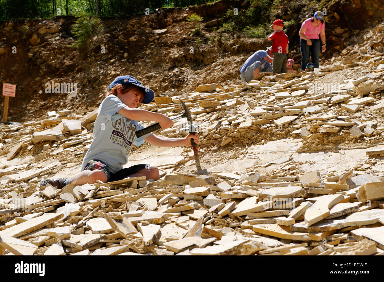 Fossil searching area, limestone quarry for hobby fossil collectors near Solnhofen in the Altmuehl Valley Nature - Stock Image