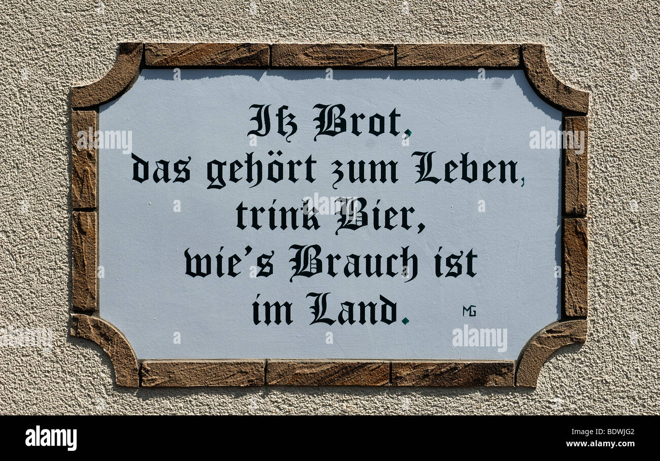 Franconian saying at a guest house, Kirchroettenbach, Middle Franconia, Bavaria, Germany, Europe - Stock Image