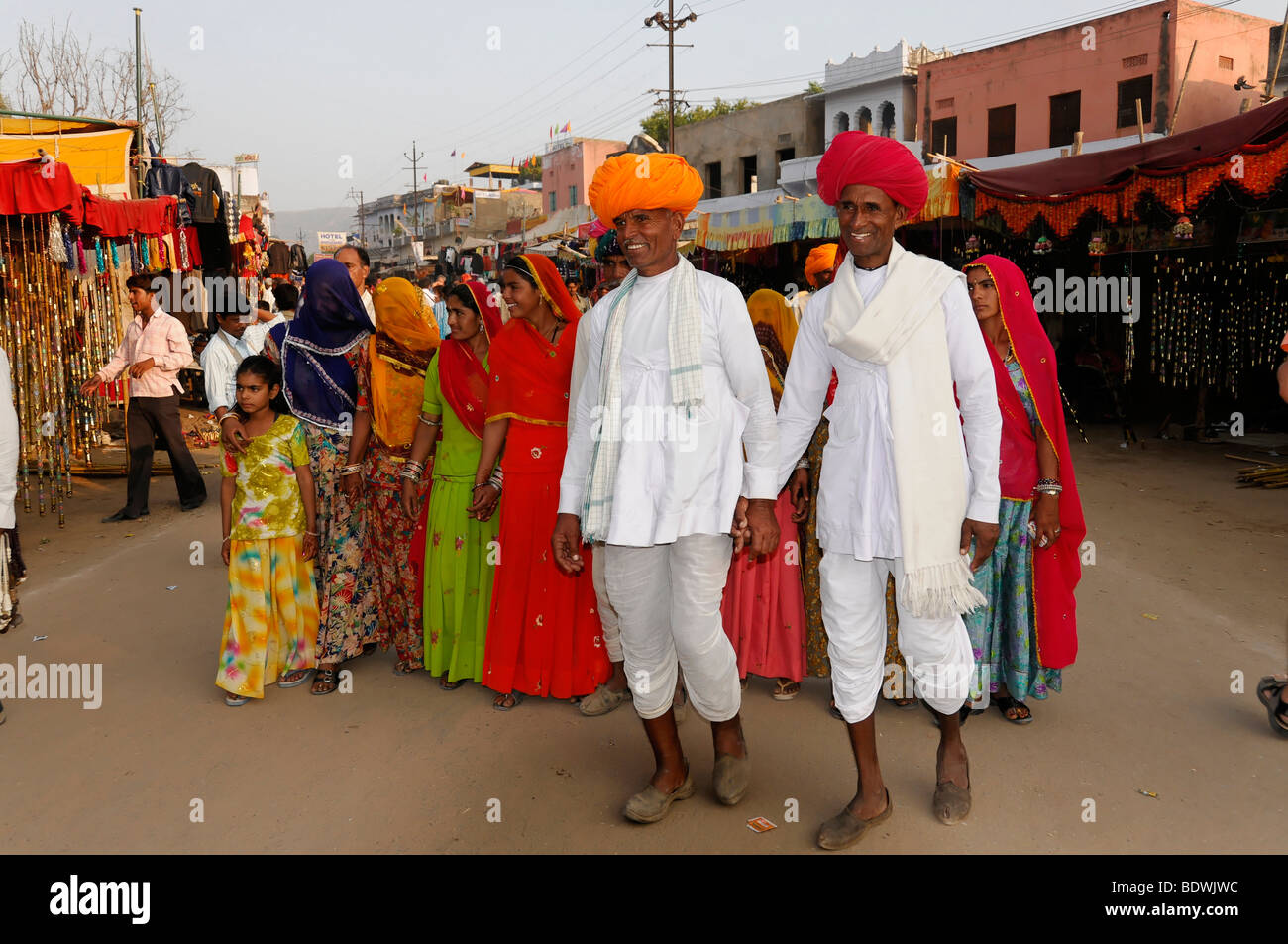 Indian family, Pushkar Mela, Pushkar, large cattle and camel market, Rajasthan, northern India, Asia Stock Photo