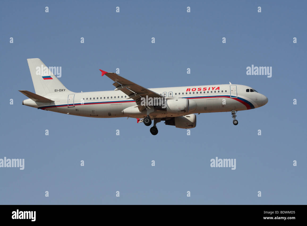 Rossiya Airlines Airbus A320 commercial passenger jet plane on approach - Stock Image