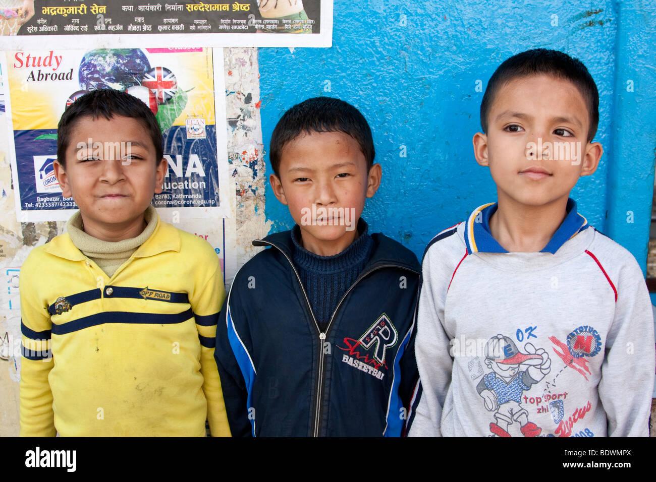 Kathmandu, Nepal. Nepali Schoolboys. - Stock Image