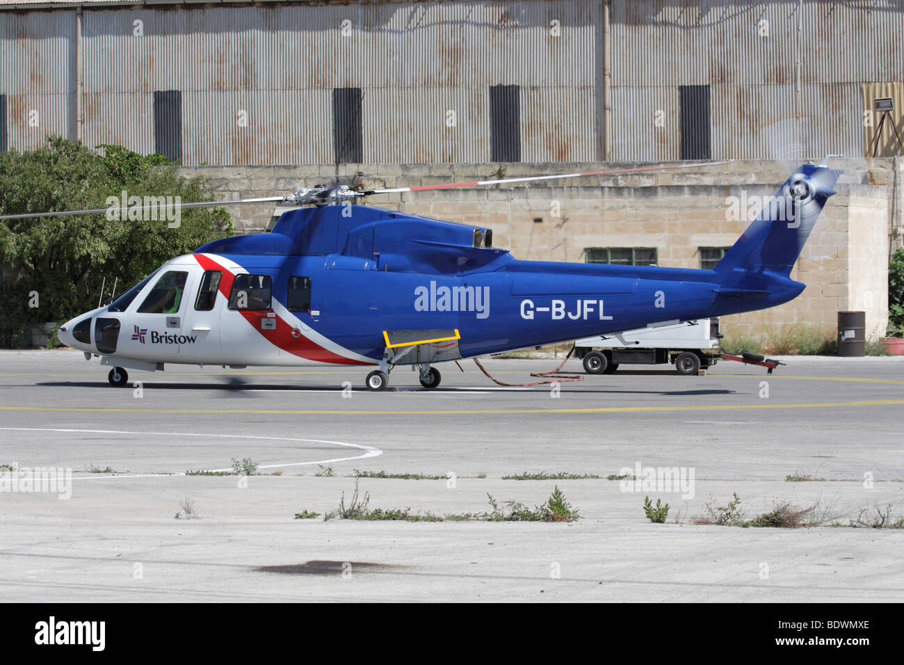 Bristow Helicopters Sikorsky S-76 helicopter performing engine runs - Stock Image