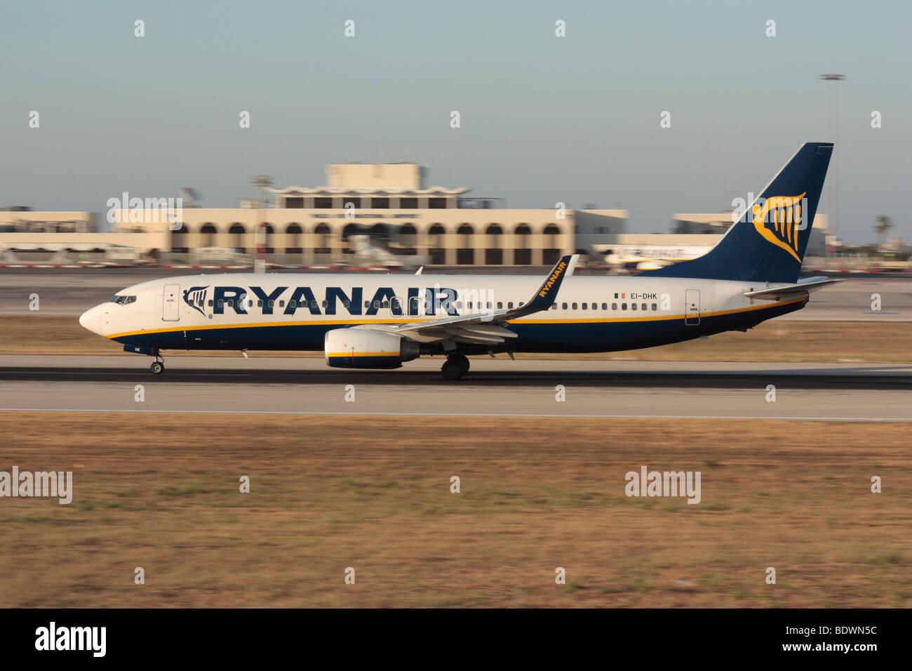 Ryanair Boeing 737-800 jet airplane picking up speed during