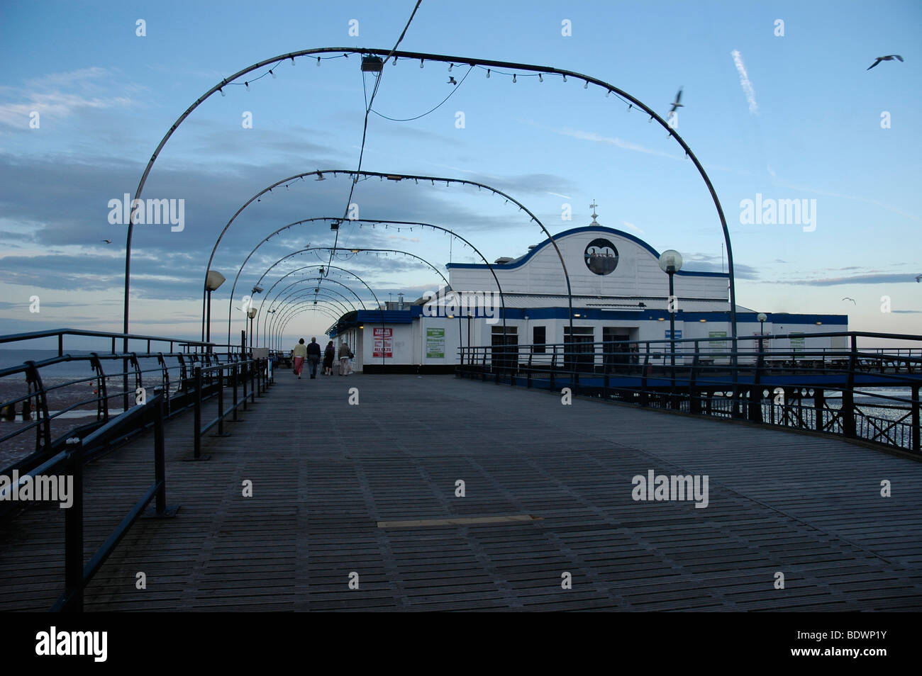 Dusk on Cleethorpes Pier - Stock Image