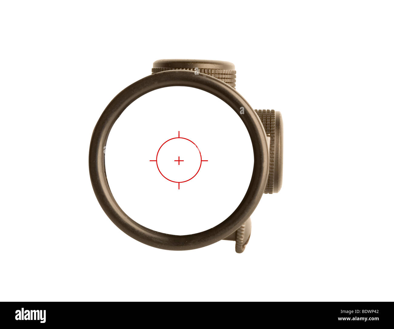 Image of a rifle scope sight used for aiming with a weapon - Stock Image