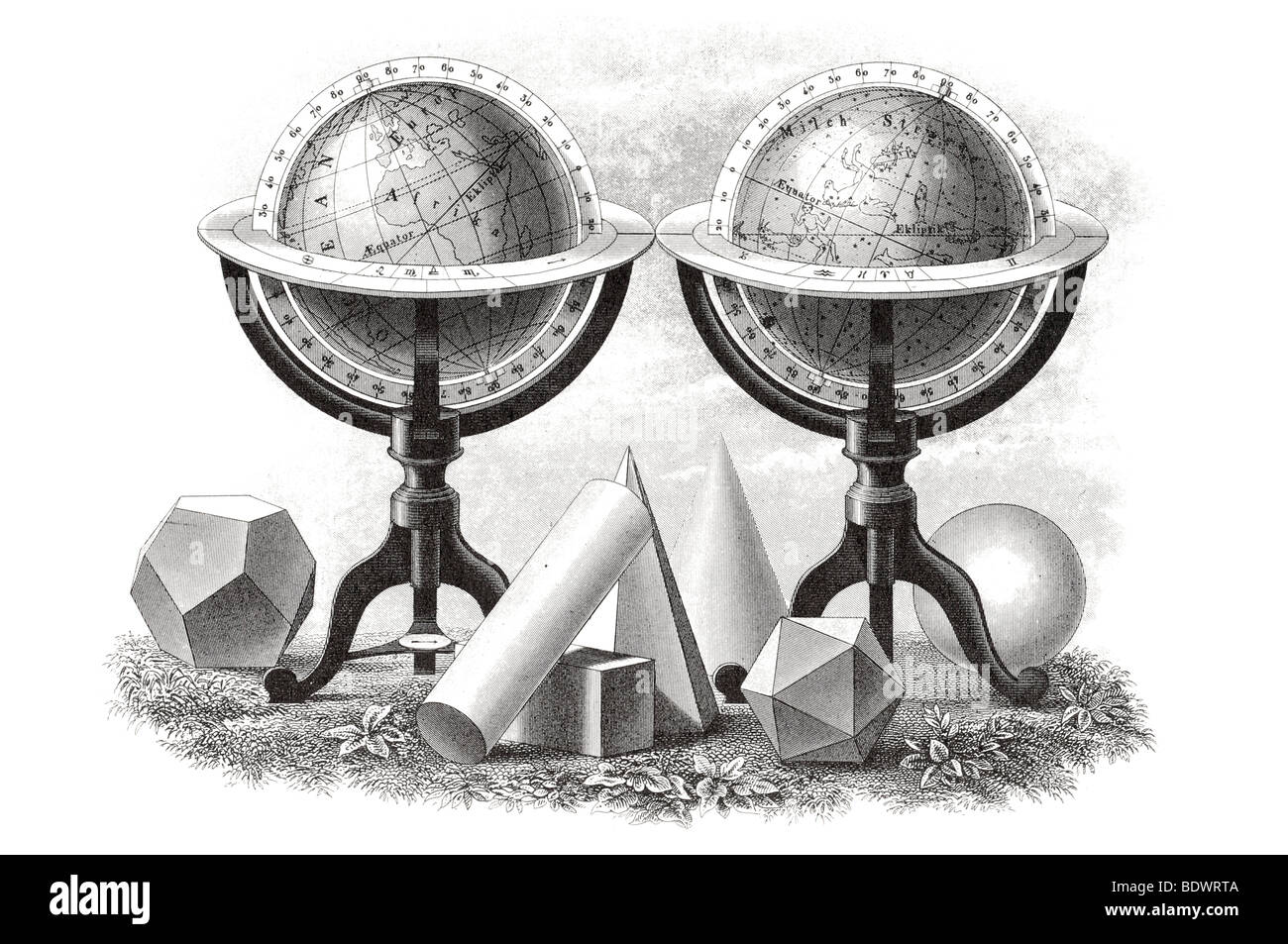 Mathematical and geometrical problems compass instrument ruler measure astrolabe sextant ellipse earth rotation - Stock Image