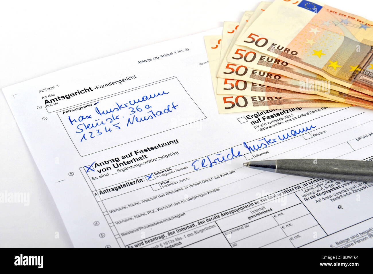Application for alimony at the local court Stock Photo