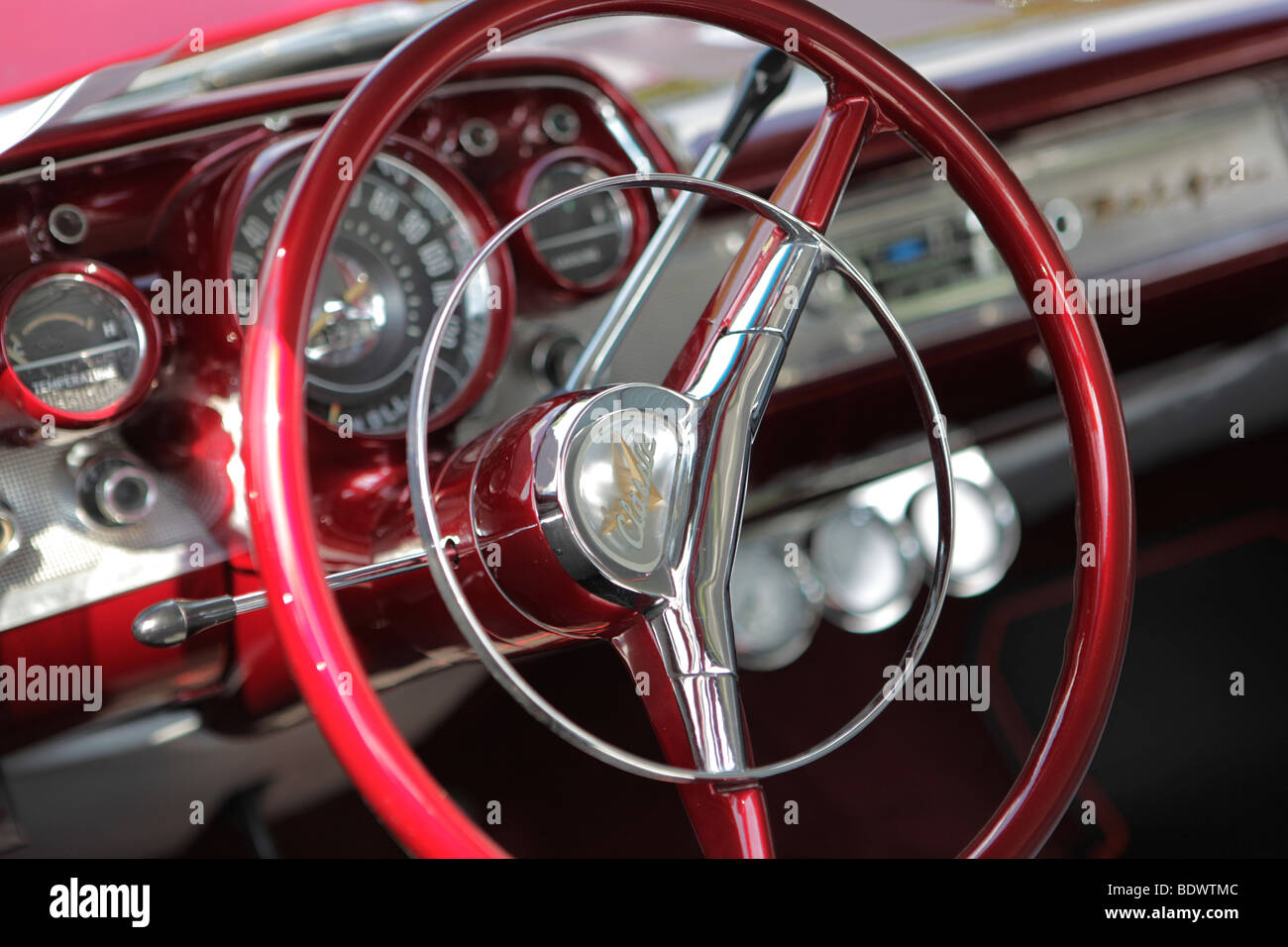steering wheel chevy 1957 bel air smithville indiana alamy