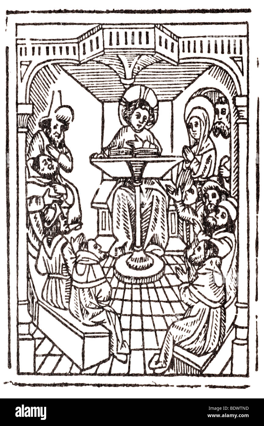 w caxton 1490 st bonaventura speculum vite cristi the boy jesus among the doctors four of the doctors seated on - Stock Image
