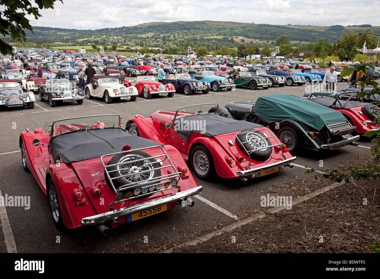 Line up of Morgan motor cars at centenary celebrations Cheltenham Racecourse UK August 2009 - Stock Image