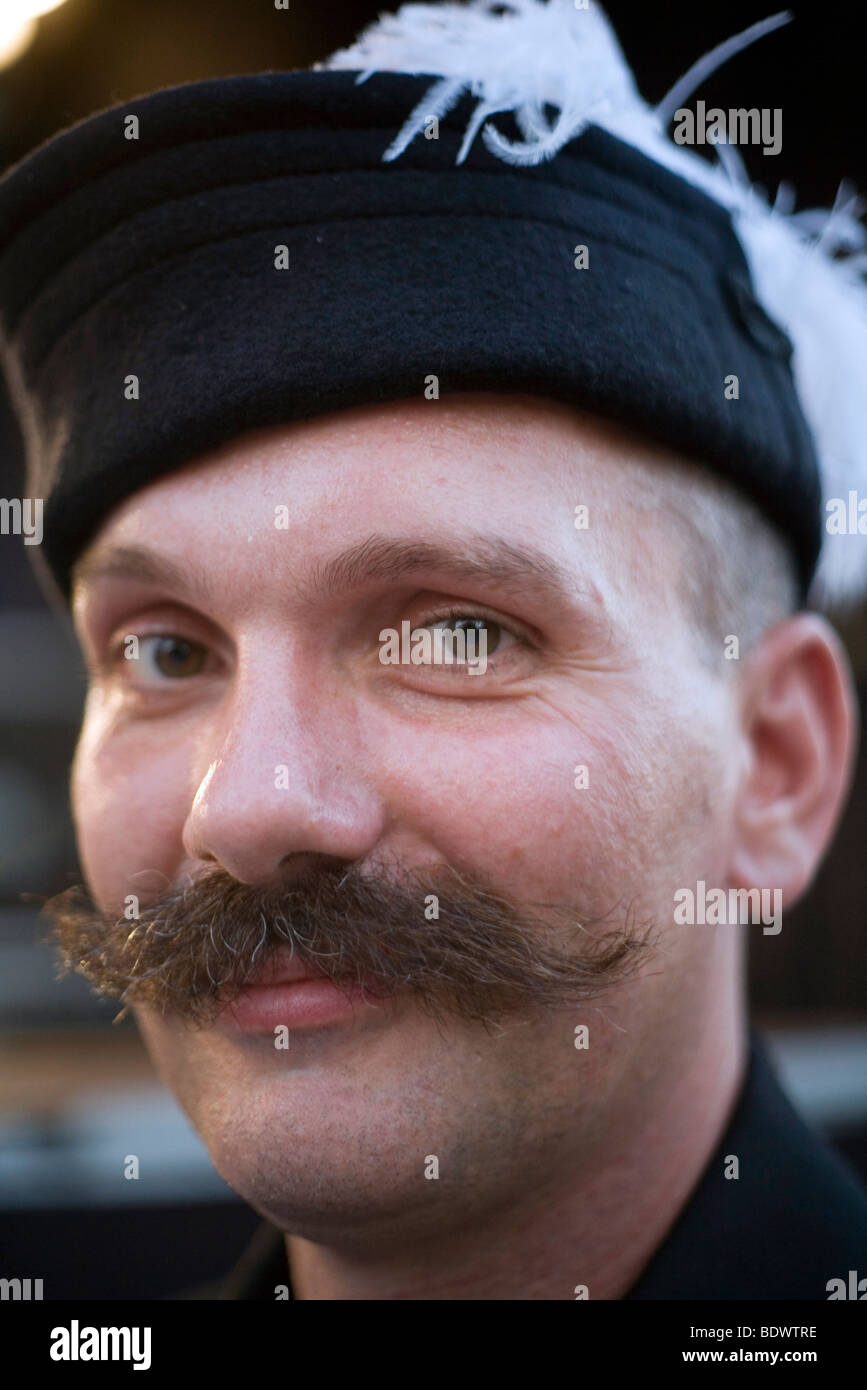 A man in traditional Hungarian folk costume performs at a cultural festival in Pec, Hungary Stock Photo