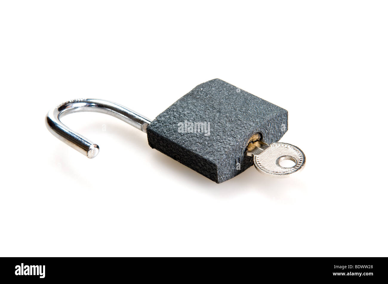 padlock isolated on a white background - Stock Image