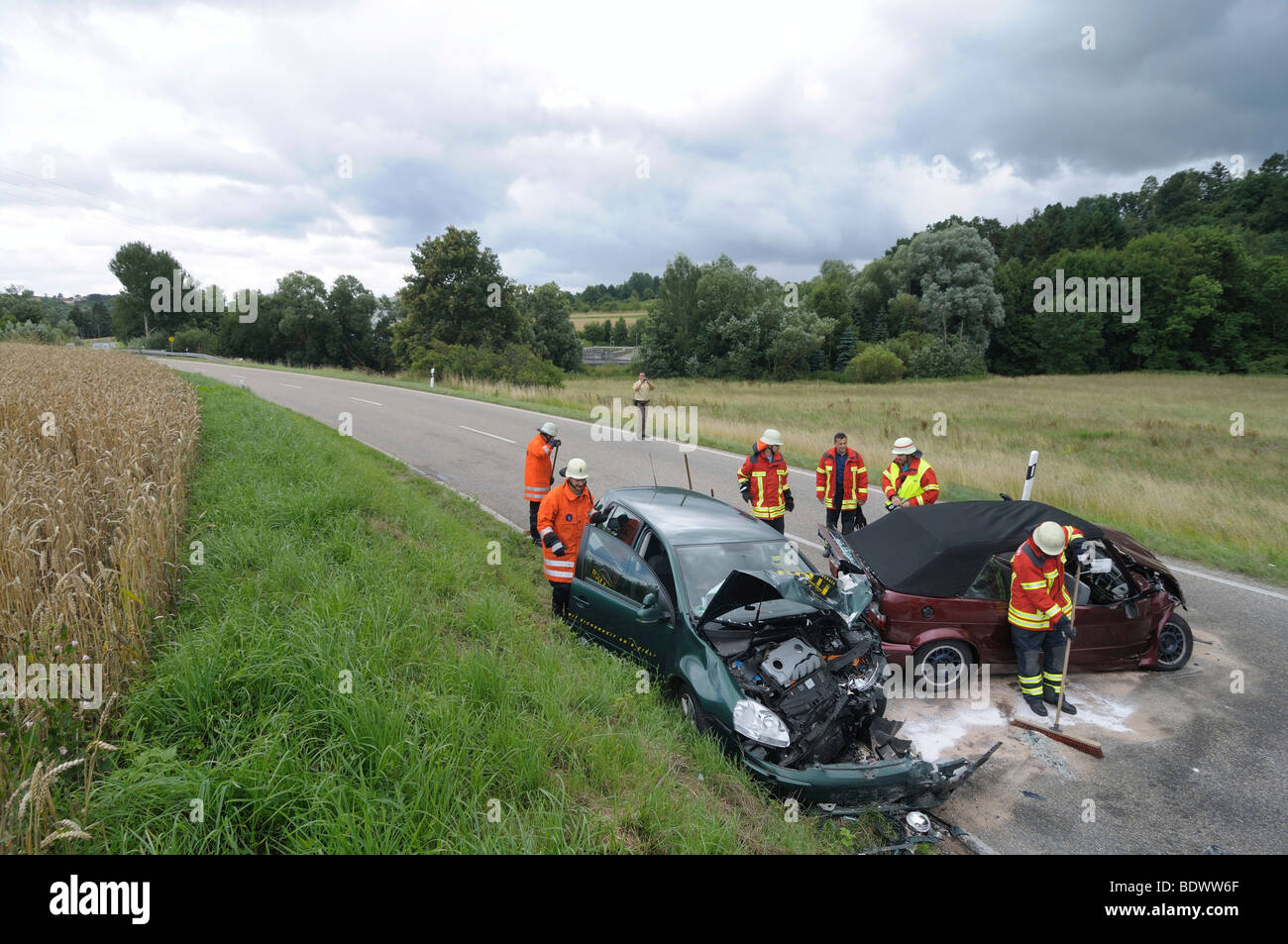 Fatal Traffic Accident Frontal Collision Between Two Vw Golf On A