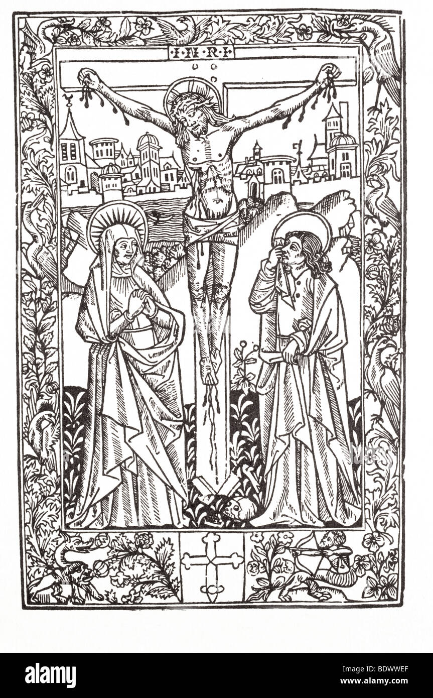 r pynson 1500 missale ad usum sarum the crucifixion mary in a double nimbus her hands clasped jesus in a double - Stock Image