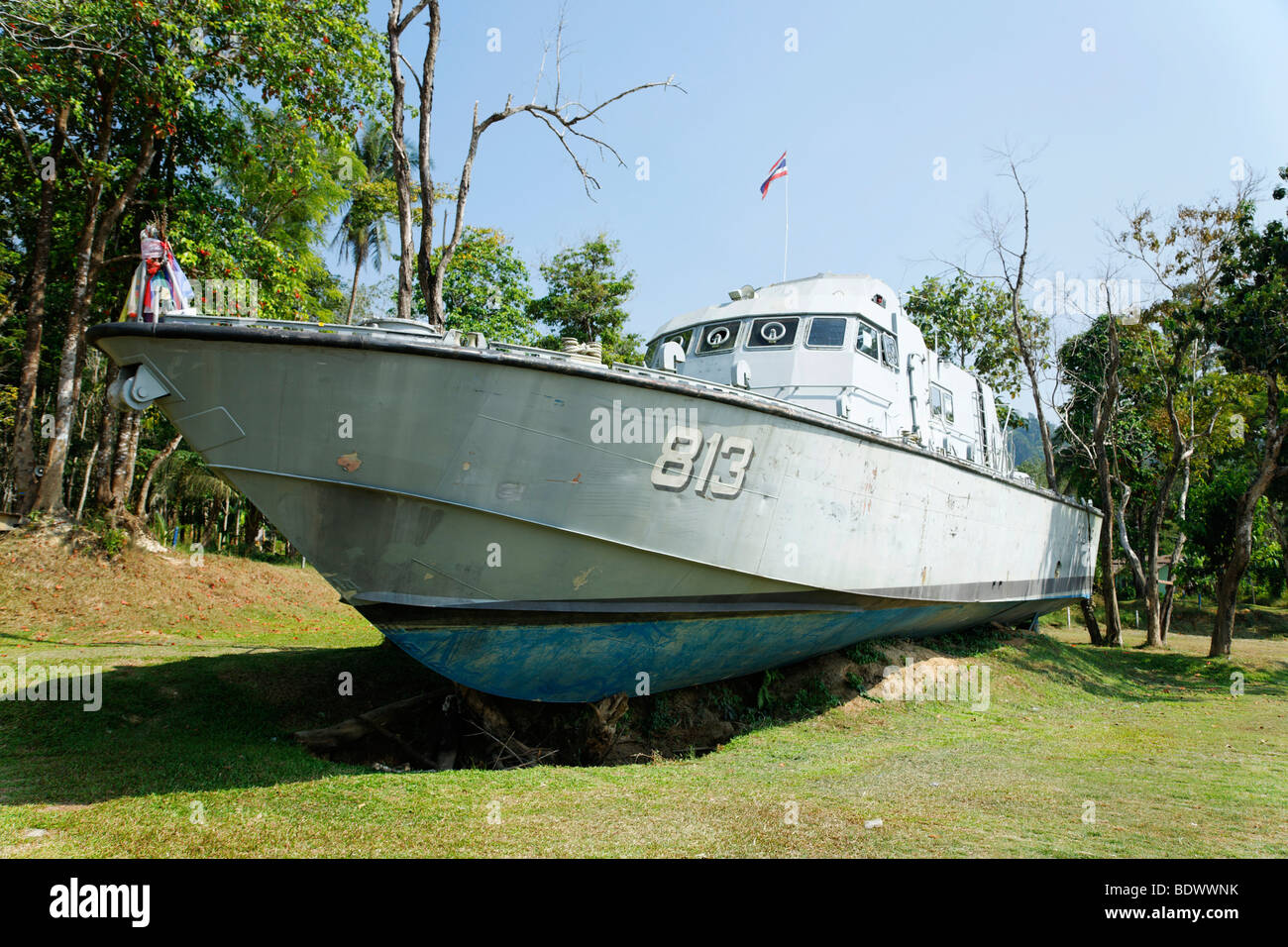 Speedboat of coast guard was landed by the tsunami on 26th of December 2004, today memorial, Khao Lak, Phuket, Thailand, - Stock Image