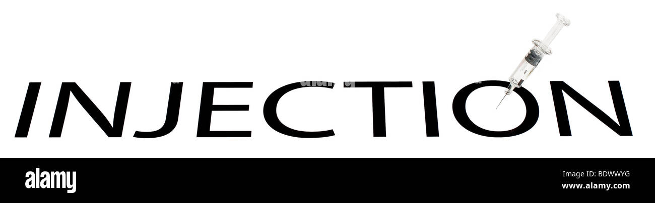 Graphic representation of the word INJECTION with hypodermic syringe shot on white background for cutout effect - Stock Image