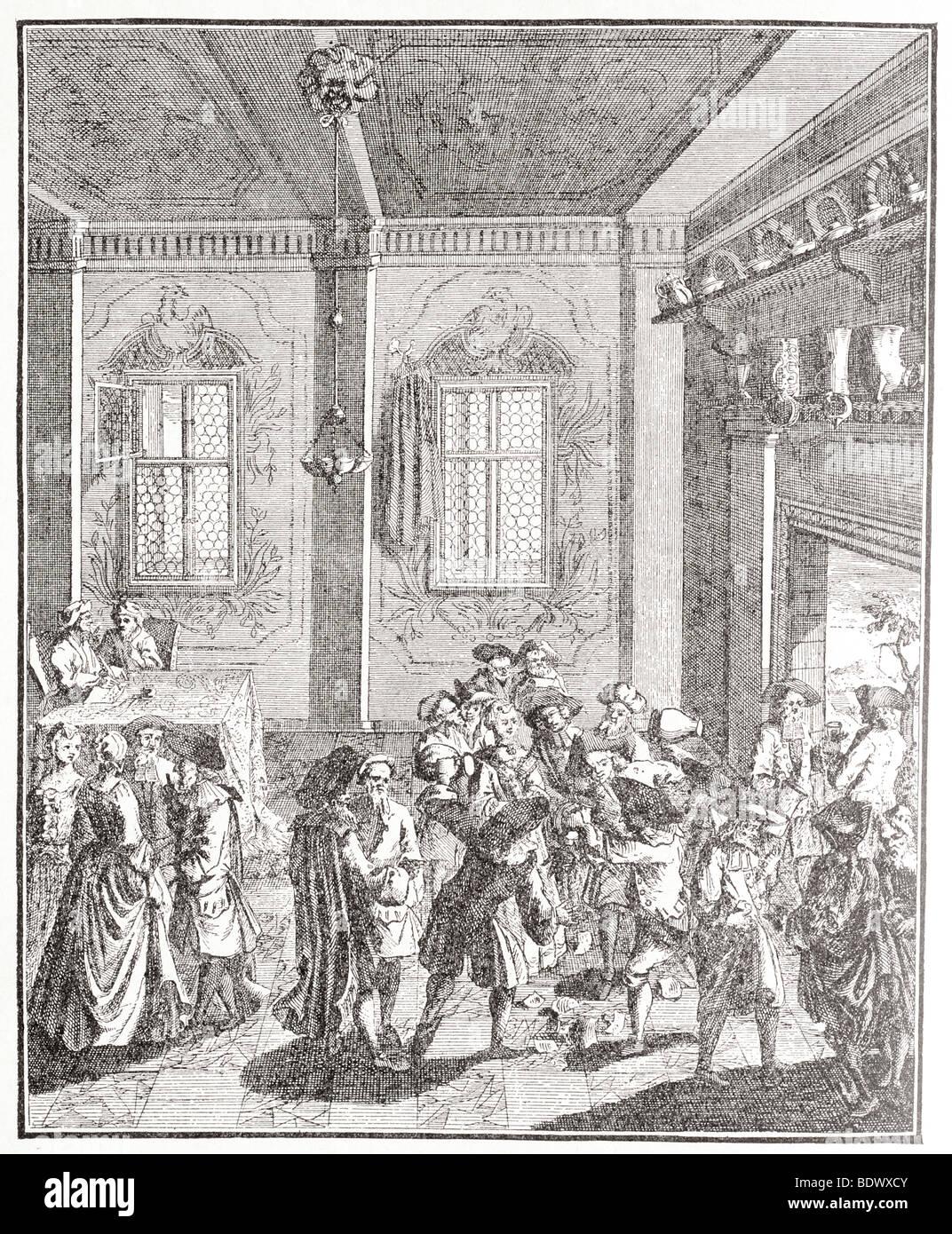 scene at a betrothal of german jews eighteenth century - Stock Image