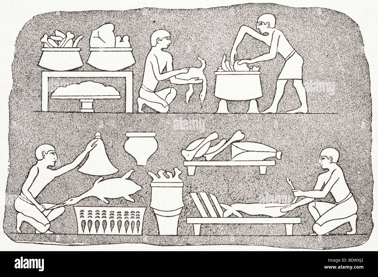 Egyptian cookery showing processes of preparing food - Stock Image