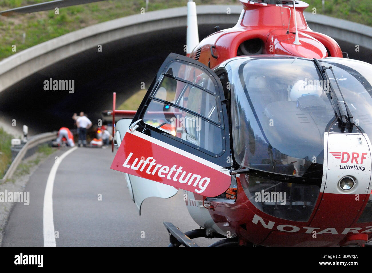 Rescue helicopter at a serious motorcycle accident on the Bundesstrasse B 295 highway between Leonberg and Renningen, - Stock Image