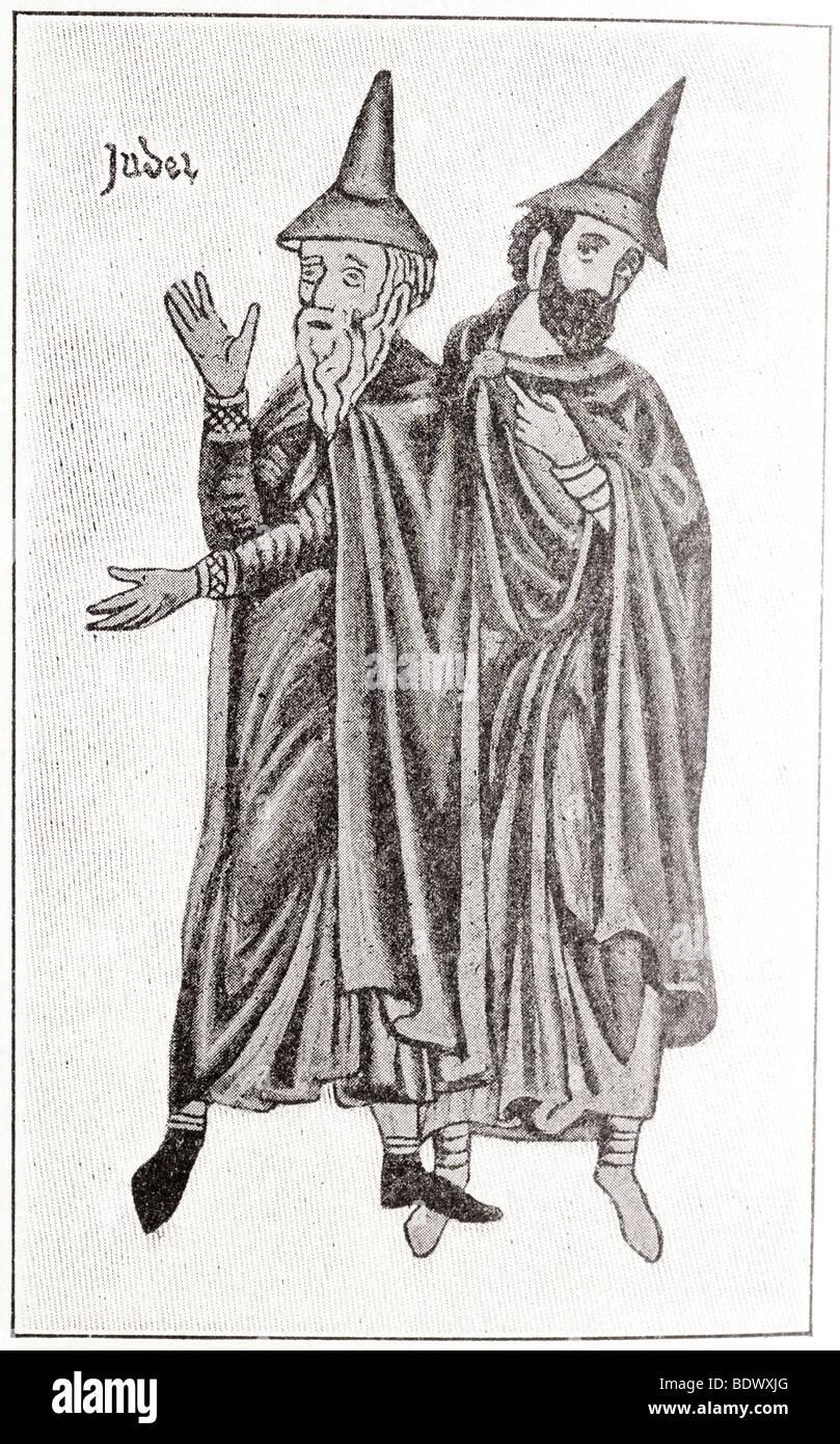 costume of german jews of the thirteenth century Stock Photo