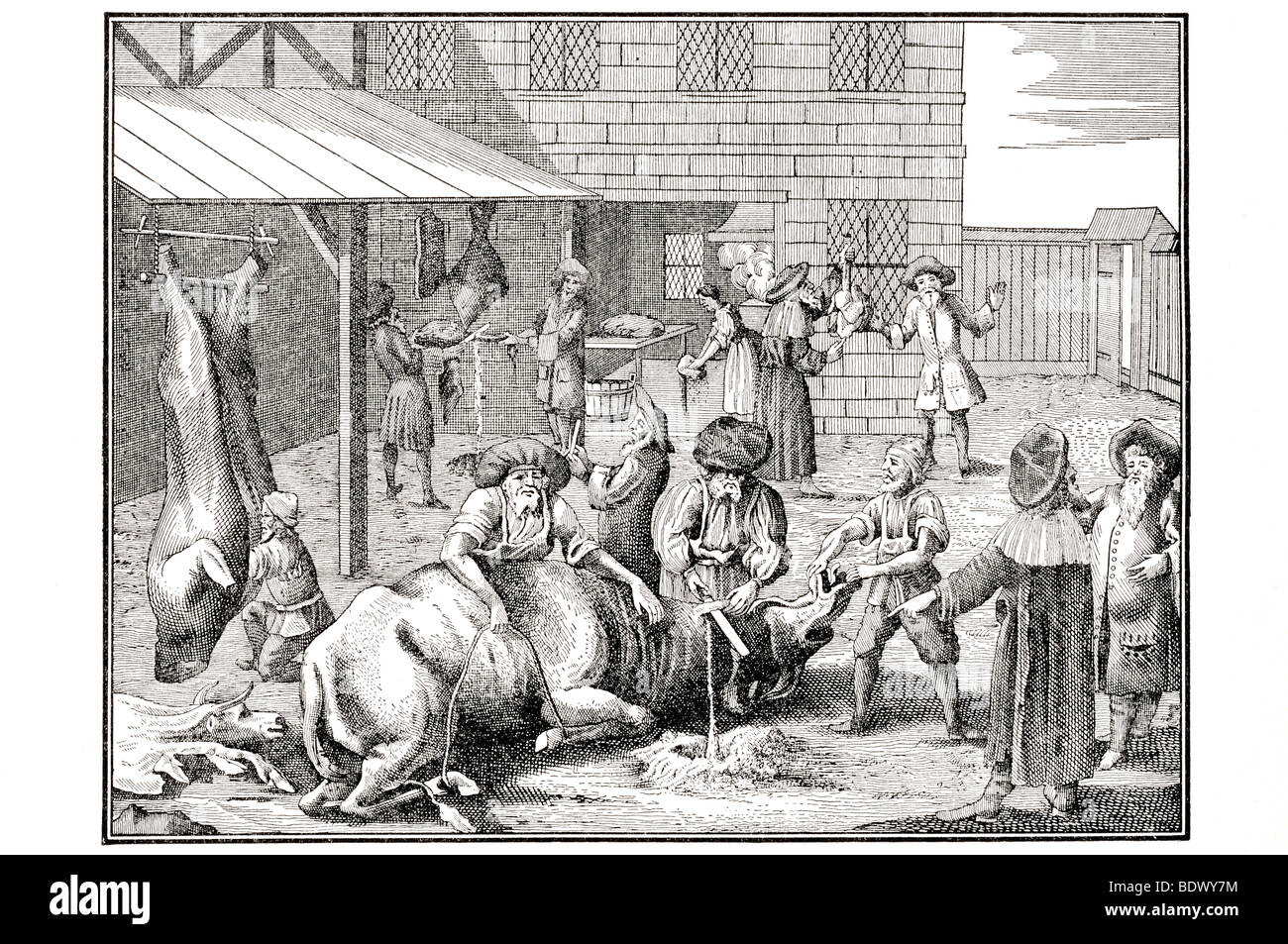 german jewish slaughtering yard of the early eighteenth centuary - Stock Image