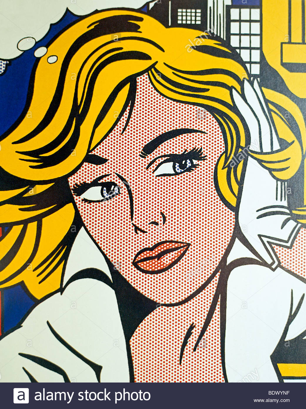 A section from artist Roy Lichtenstein's M-Maybe (A Girl's Picture) dated 1965. - Stock Image