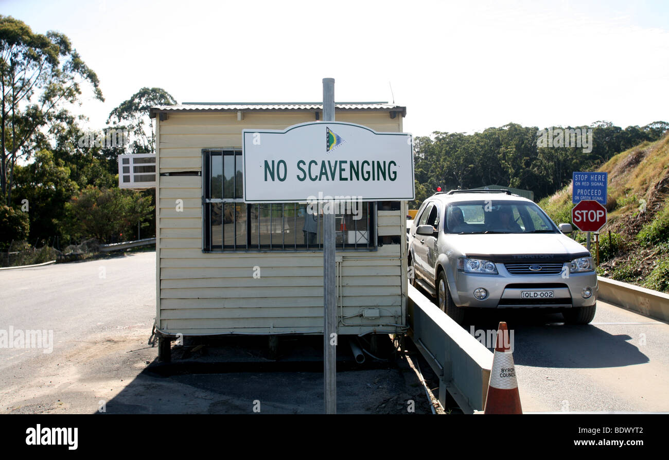 A sign near the weigh-bridge of a rubbish dump in Australia warns people not to Scavenge. - Stock Image