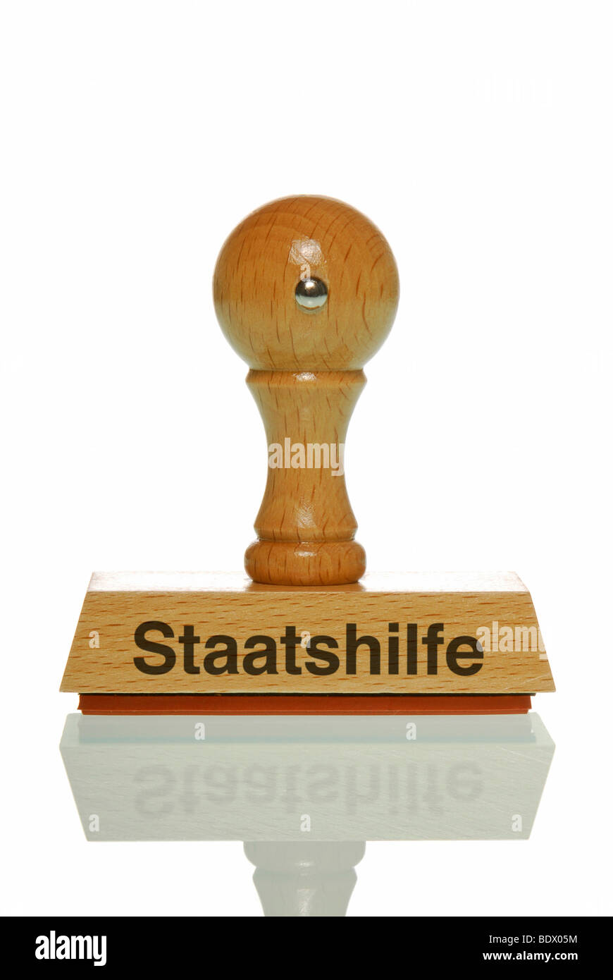 Stamp with the lettering Staatshilfe, German for government support Stock Photo