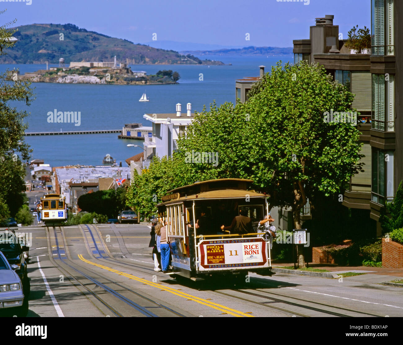 Cable Car Climbing Up Hyde Street With Alcatraz Island In