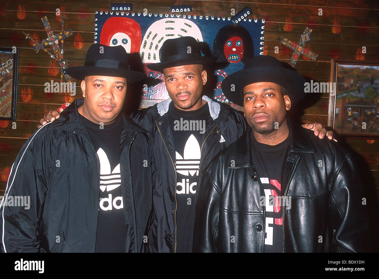 RUN DMC - US rappers from l: Joseph 'DJ Run' Simmons, Darryl 'DMC' McDaniels & Jason 'Jam - Stock Image