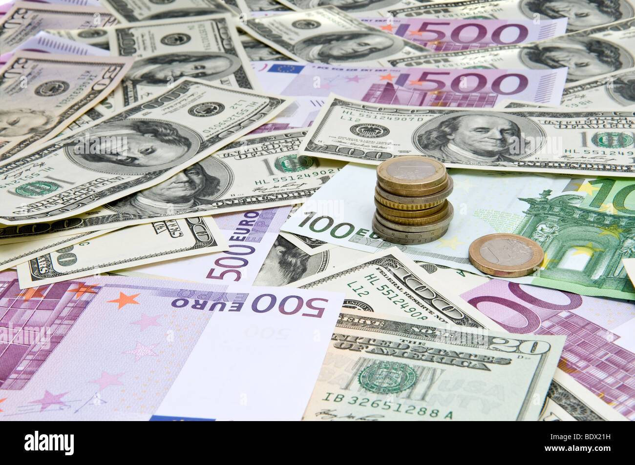 Global economy. International banknotes. Mixed currencies - Stock Image