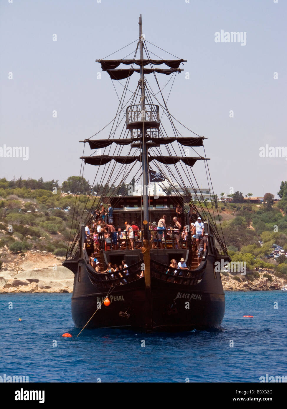 The Black Pearl, a tourist day-cruise ship at Ayia Napa, Cyprus. - Stock Image