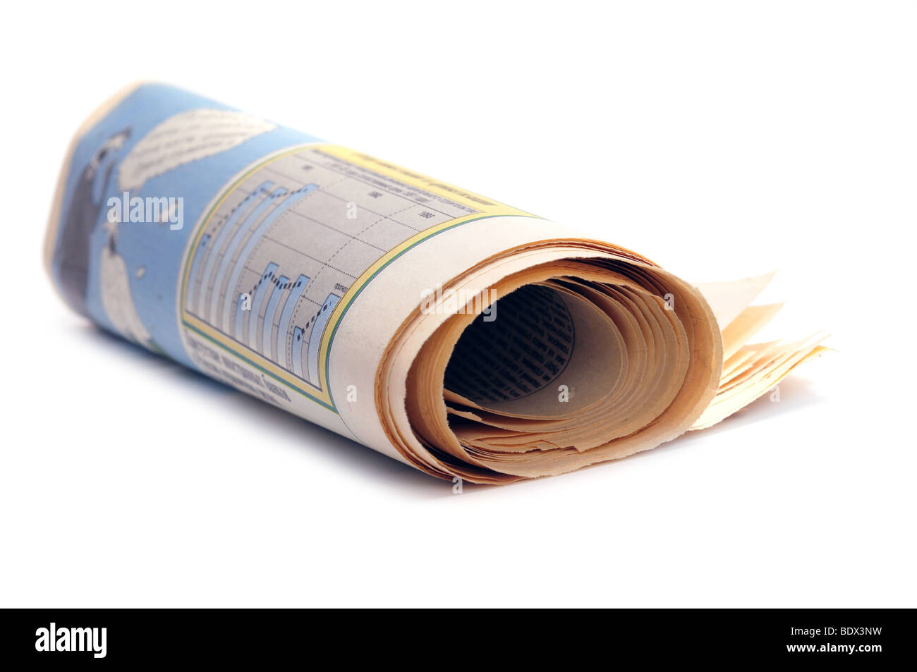 Newspaper rolled up isolated on white - Stock Image