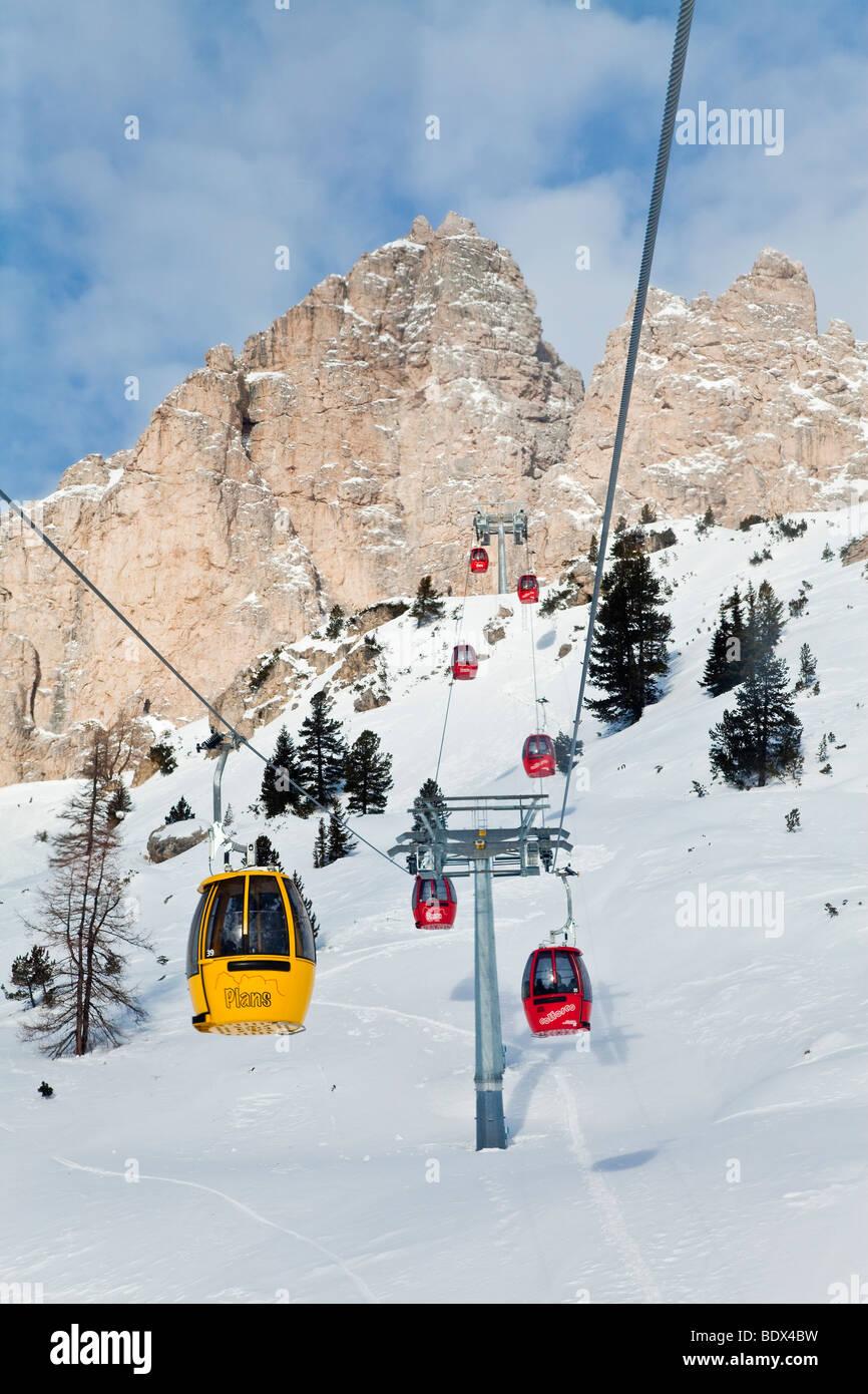 Sella Ronda ski area, Gondola lift, Val Gardena, Sella Massif range,  Dolomites, South Tirol, Trentino Alto-Adige, - Stock Image
