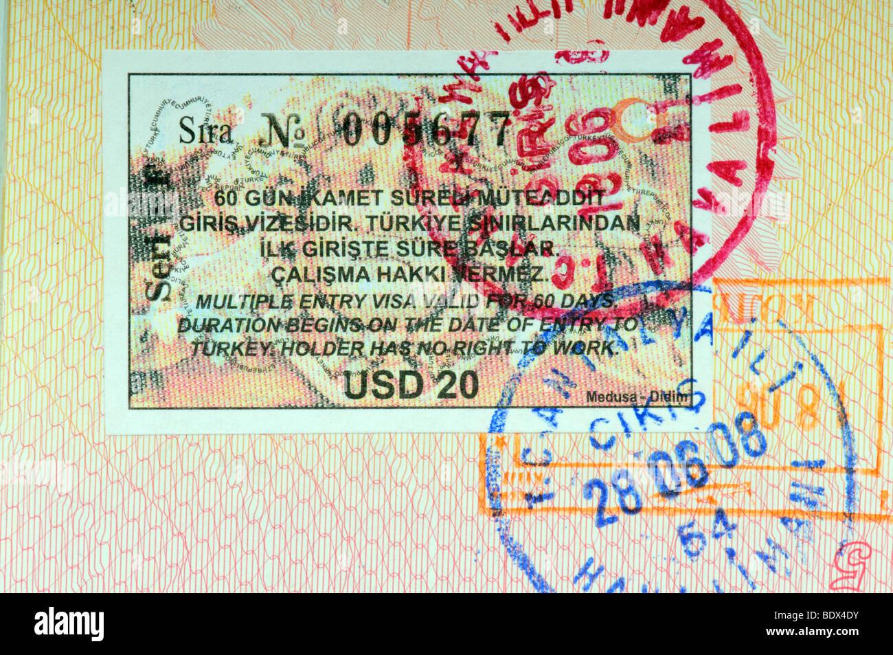 Turkey visa in international passport - Stock Image